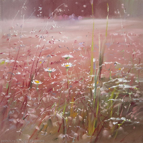 Розовый луг. Эскиз Pink meadow. Sketch 40×40. 2014
