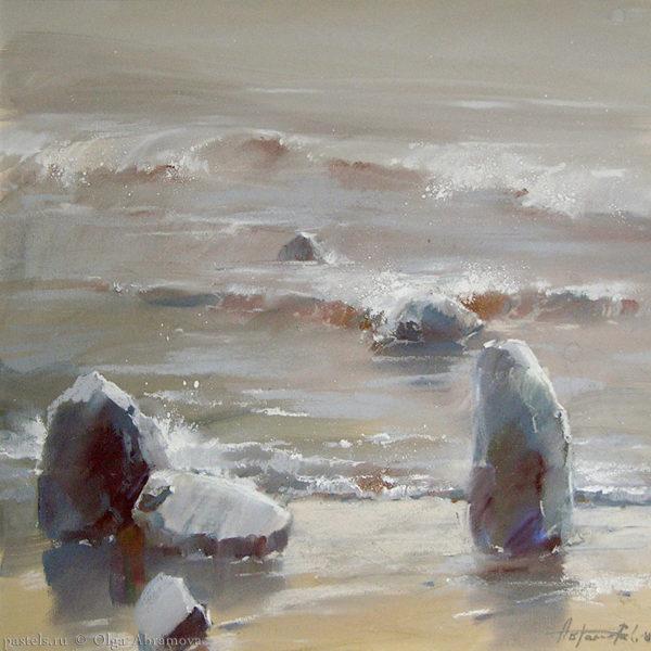 Retreating into the sea 53×53. 2008
