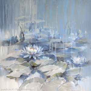 Water Lilies 03. Blue Pond 80×80. 2017